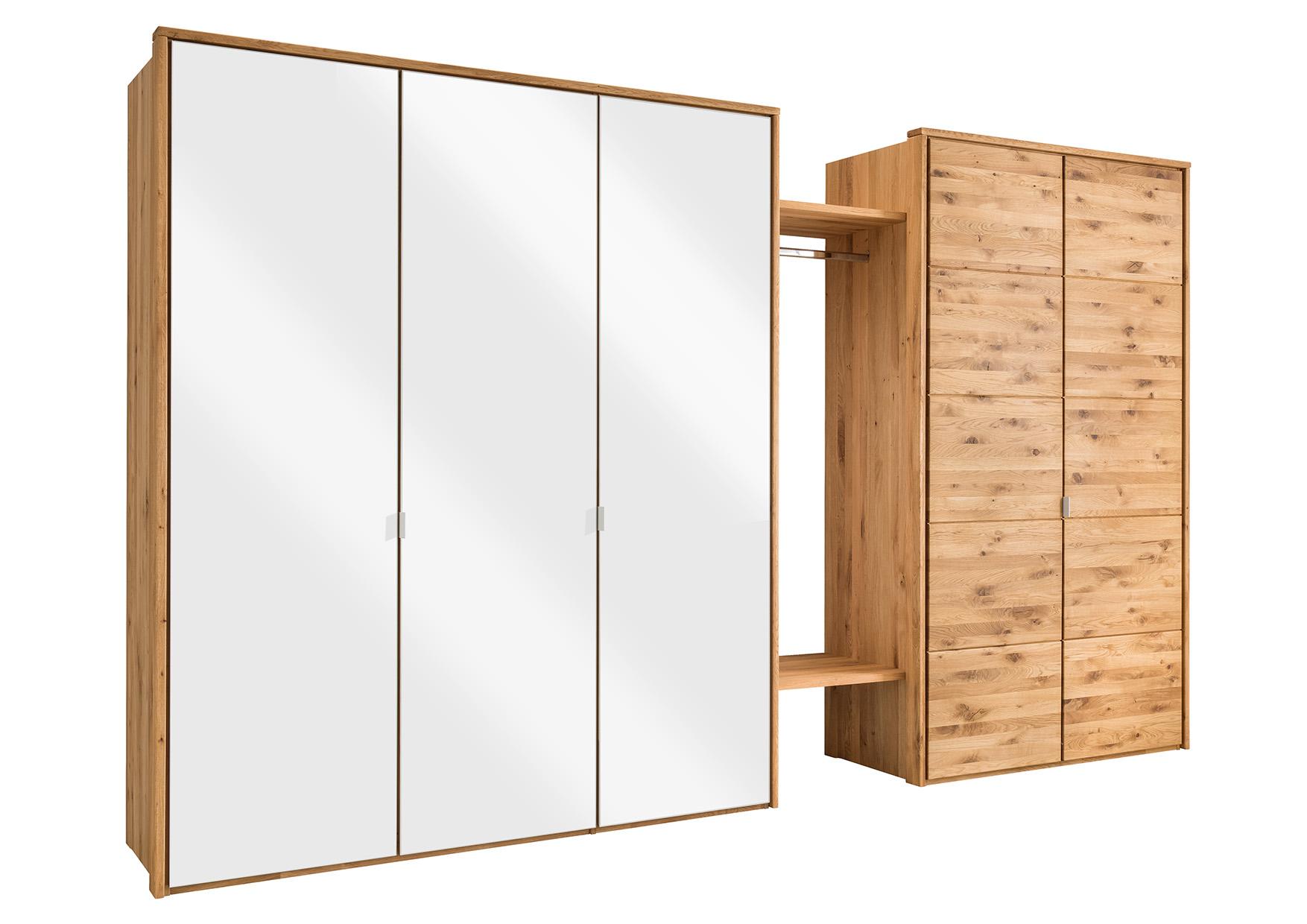 5 Türiger Kleiderschrank Aus Wildeiche Mit Weißglas Natura New