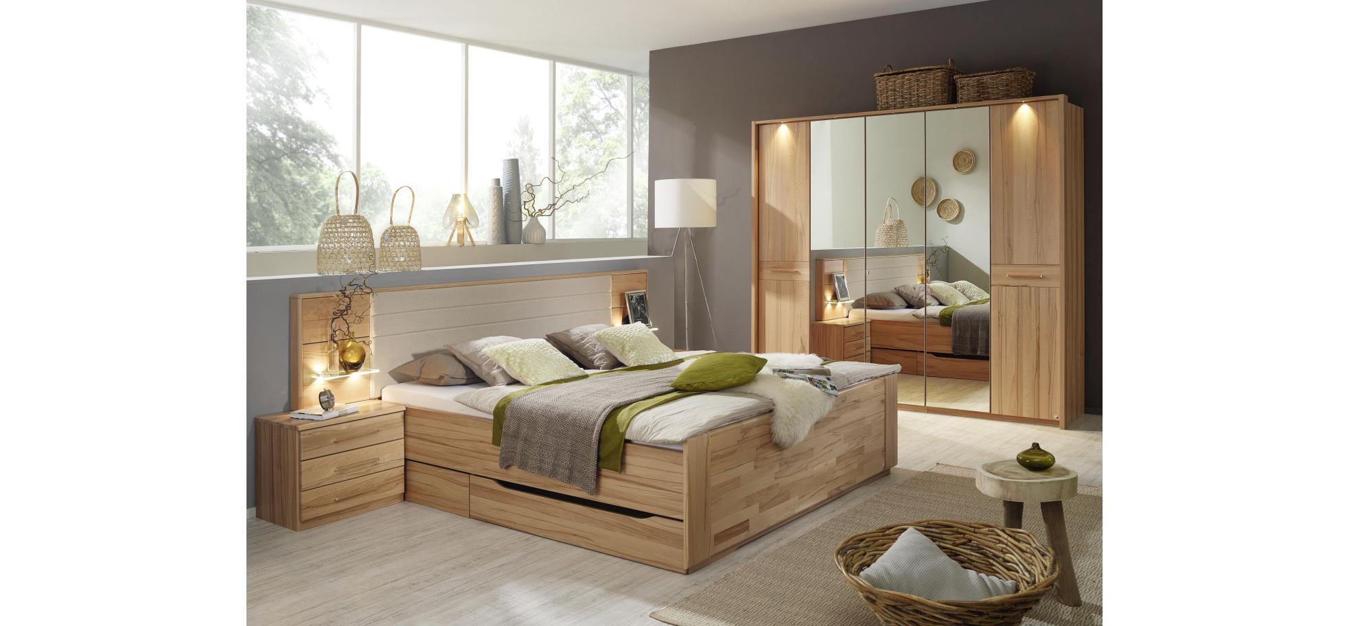 bett in kernbuche mit polsterkopfteil liegefl che 180x200 cm m belhaus pohl wilhelmshaven. Black Bedroom Furniture Sets. Home Design Ideas