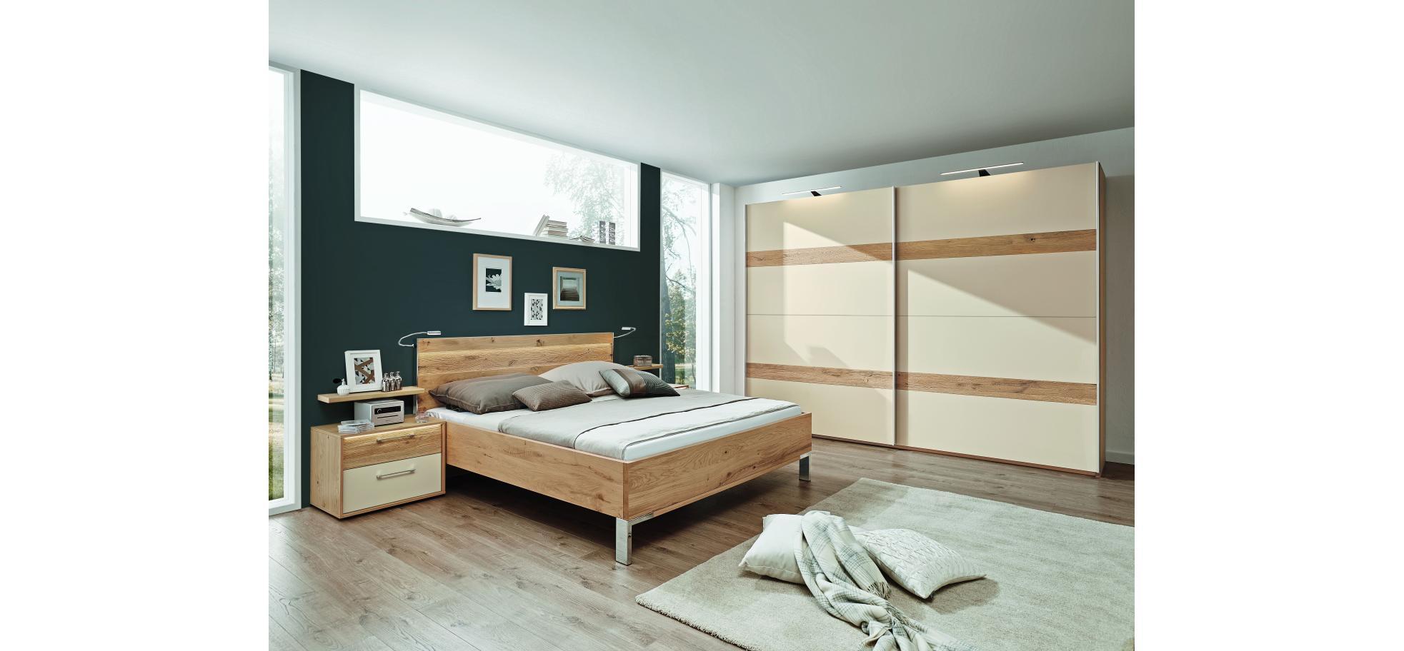Schlafzimmer in Eiche furniert und Lack Sand   Möbelhaus Pohl ...