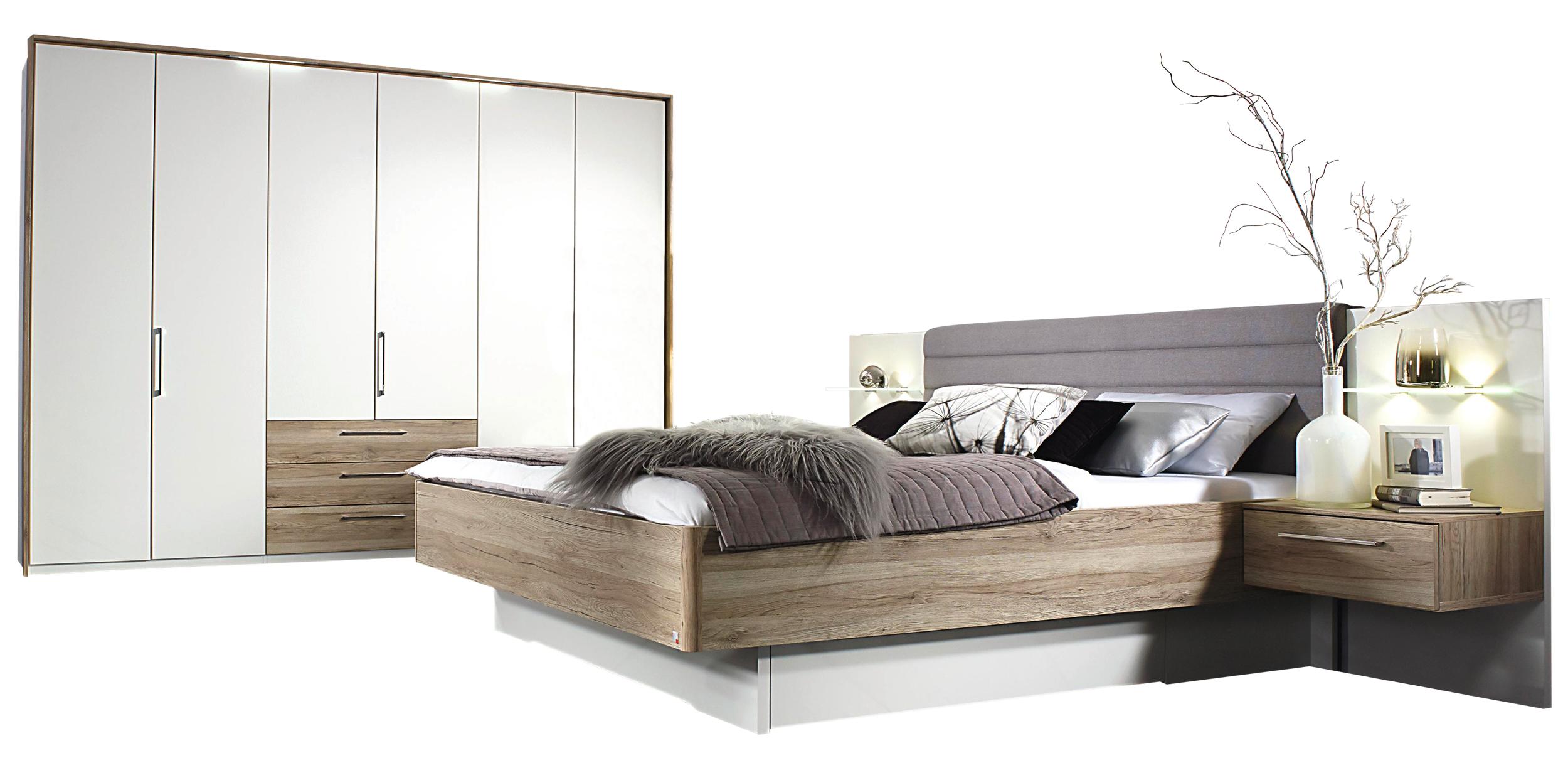 Schlafzimmer in alpinweiss mit Absetzung Eiche   Möbelhaus Pohl ...