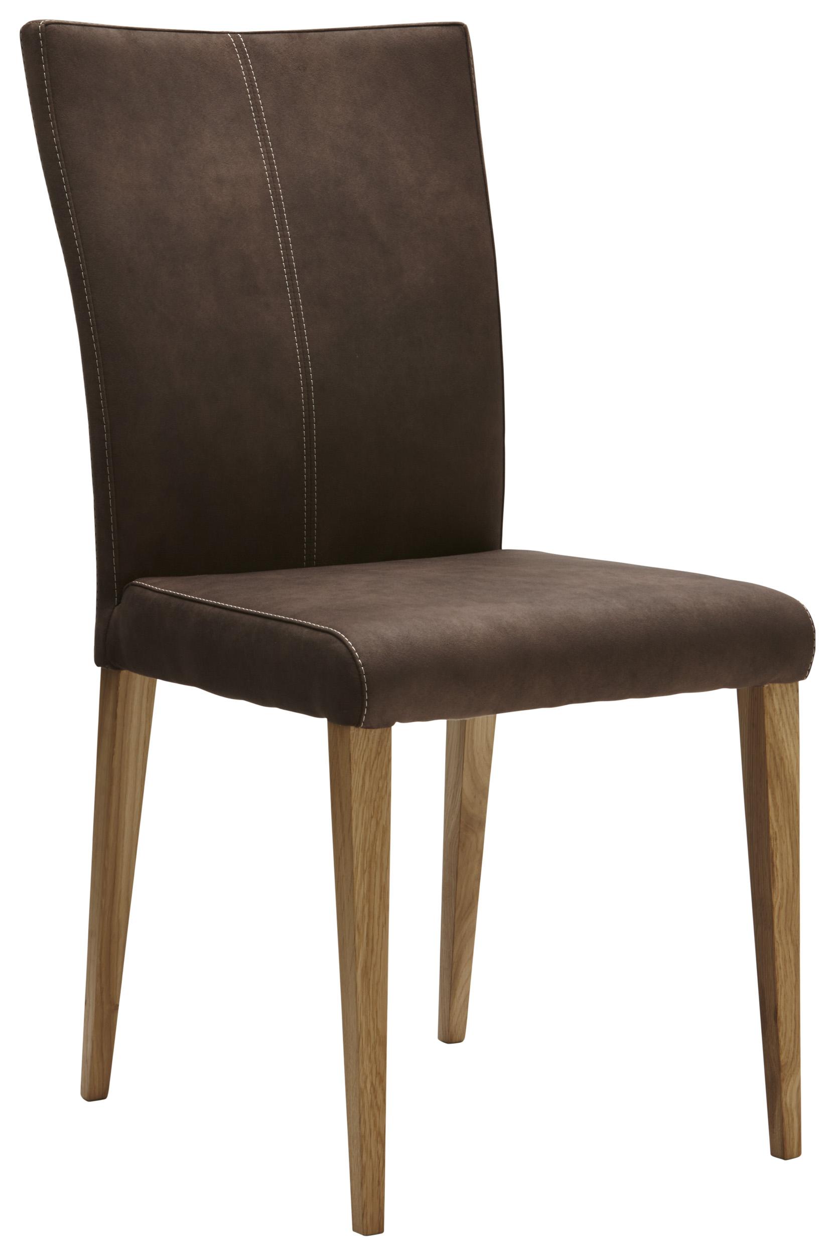 Brauner Stuhl In Stoff Mit Beiger Kontrastnaht Natura 4110