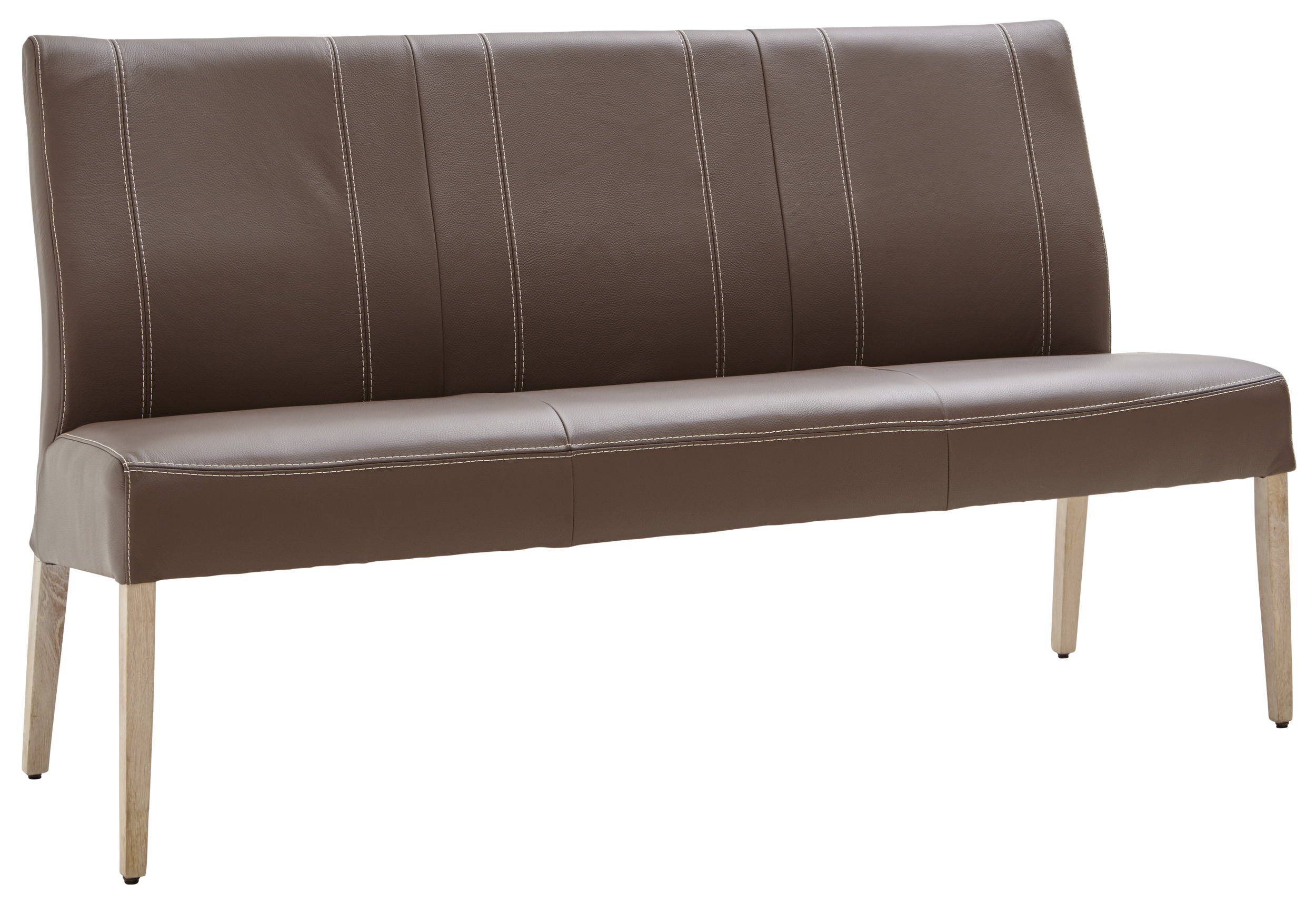 espresso farbene lederbank mit f en in eiche bianco natura utah m belhaus pohl. Black Bedroom Furniture Sets. Home Design Ideas