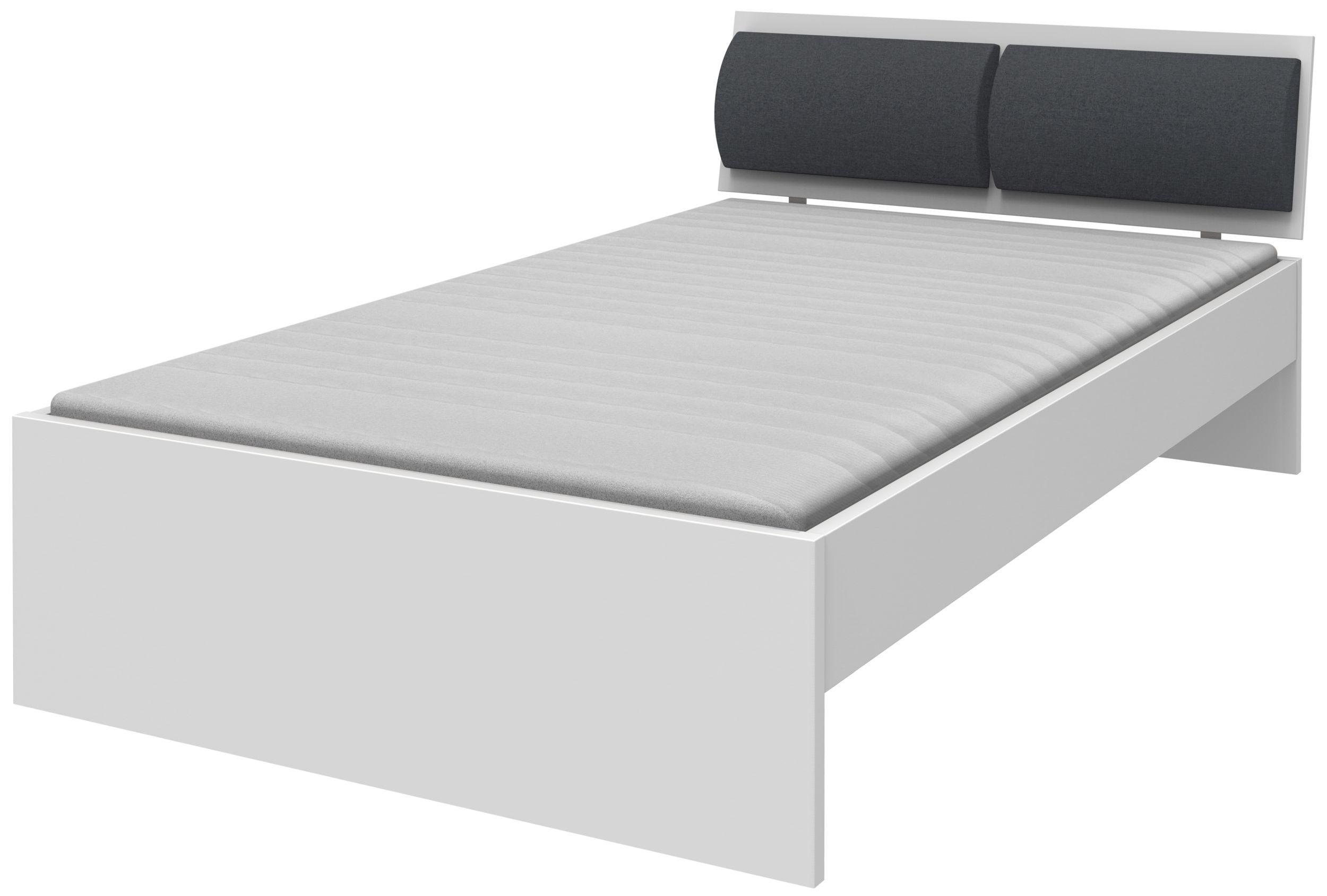 Weisses Bett Mit Polsterkopfteil In Grau Liegeflache Ca 120x200 Cm