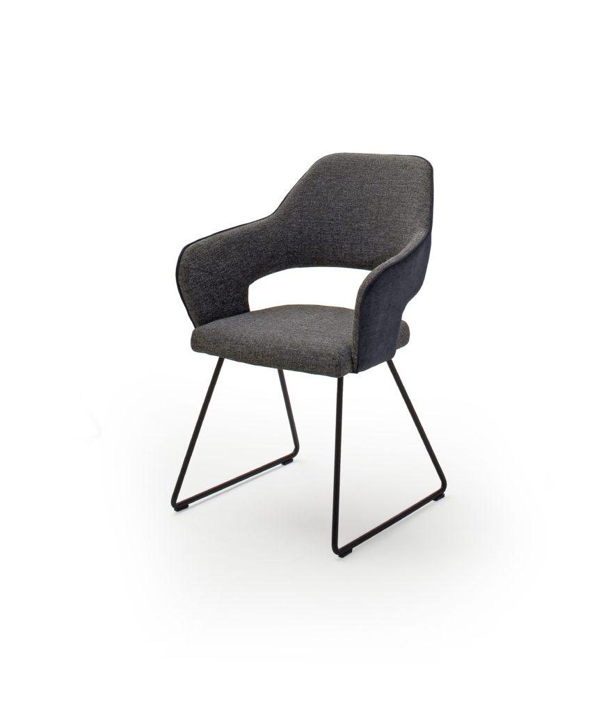 Armlehn Stuhl In Grau Mit Kufengestell