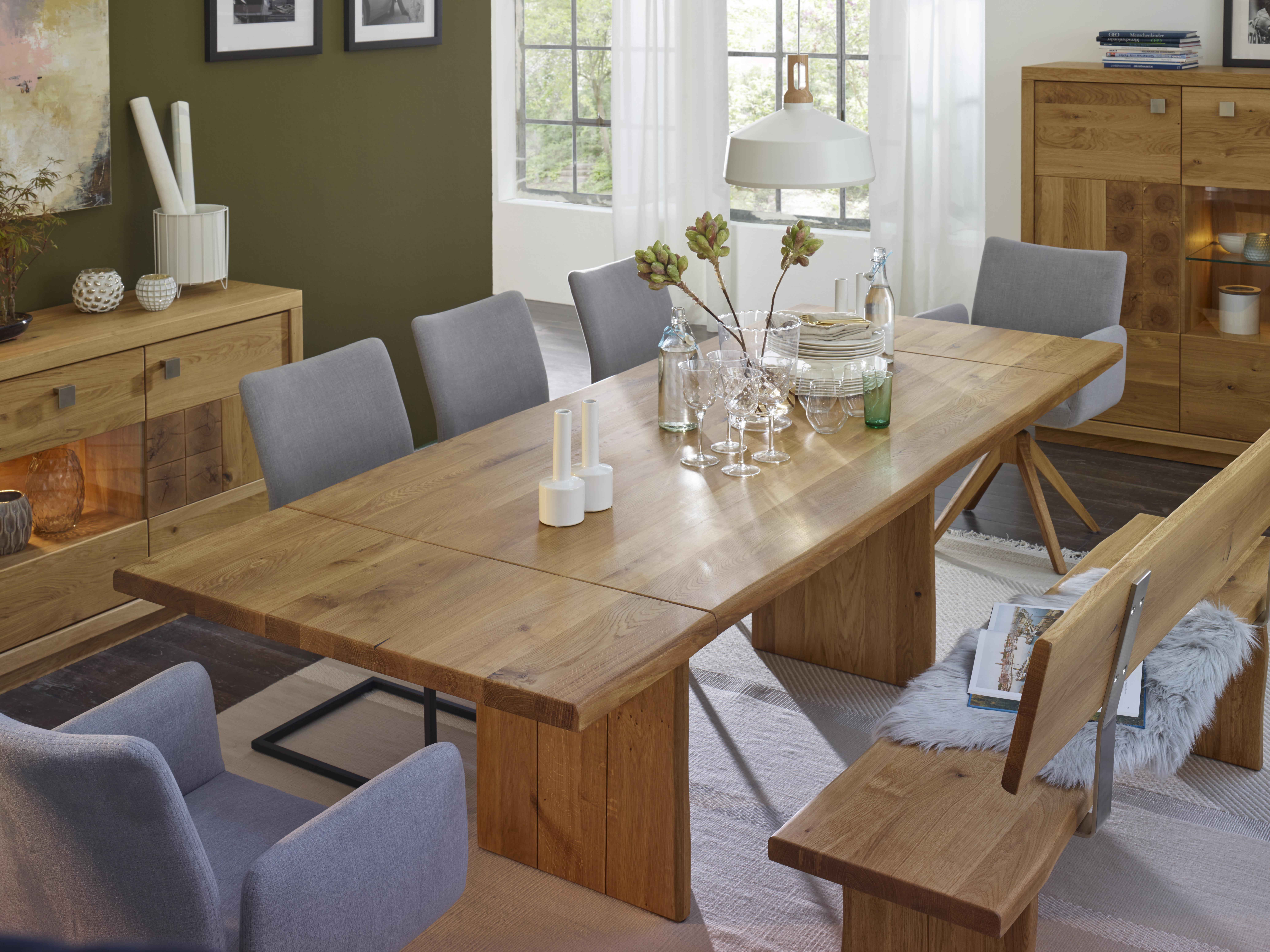 esstisch mit baumkante und 2 ansteckplatten natura. Black Bedroom Furniture Sets. Home Design Ideas